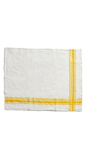 Stripe Linen Tea Towel in Lemon Yellow