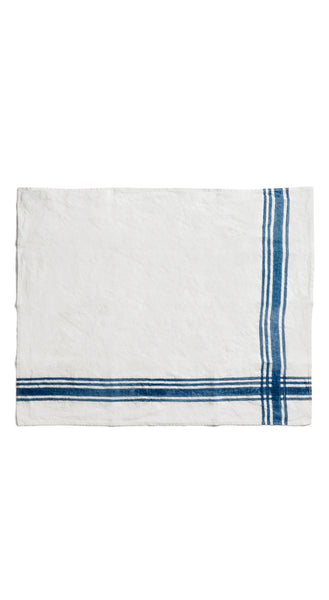 Stripe Linen Tea Towel in Midnight Blue