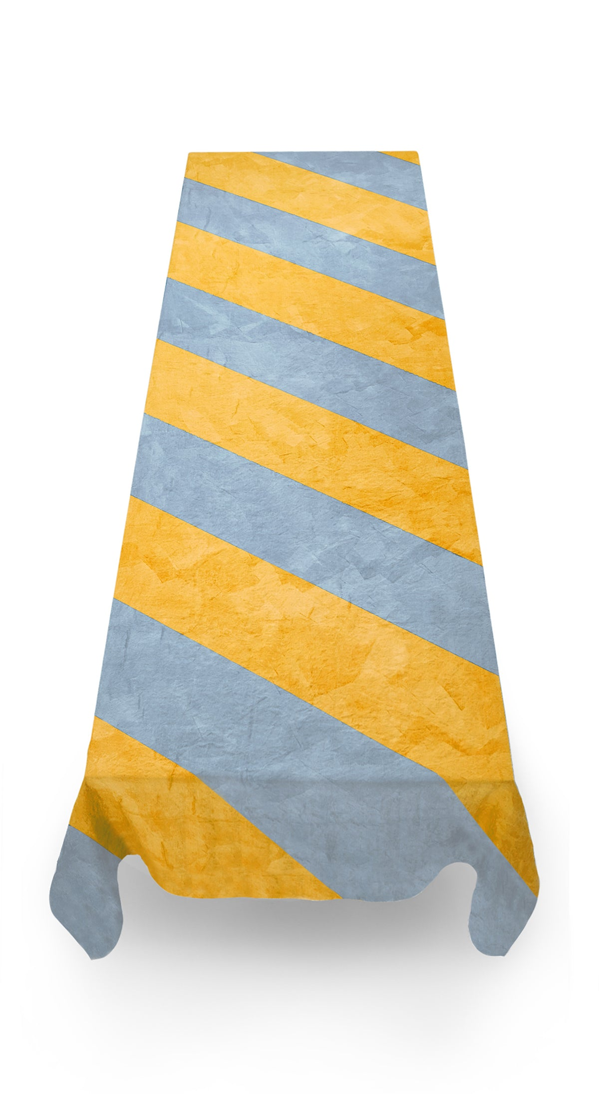 Stripe Linen Tablecloth in Mustard Yellow and Pale Blue