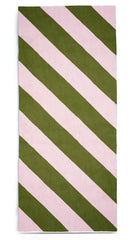 Stripe Linen Tablecloth in Avocado Green and Pale Pink