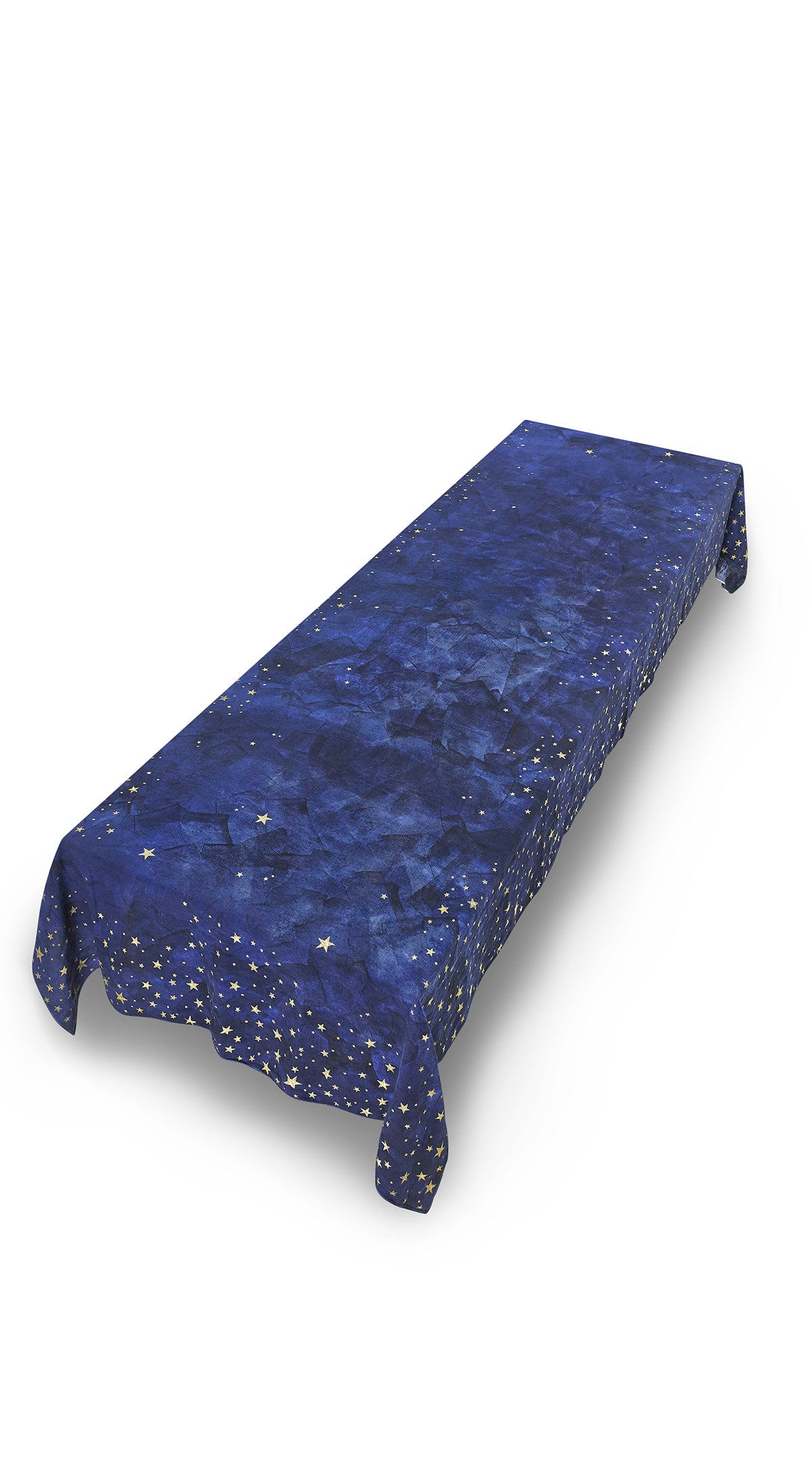 Falling Stars Linen Tablecloth in Ink Blue with Gold Stars
