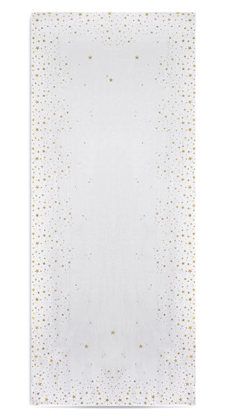 Falling Stars Linen Tablecloth in White with Gold Stars