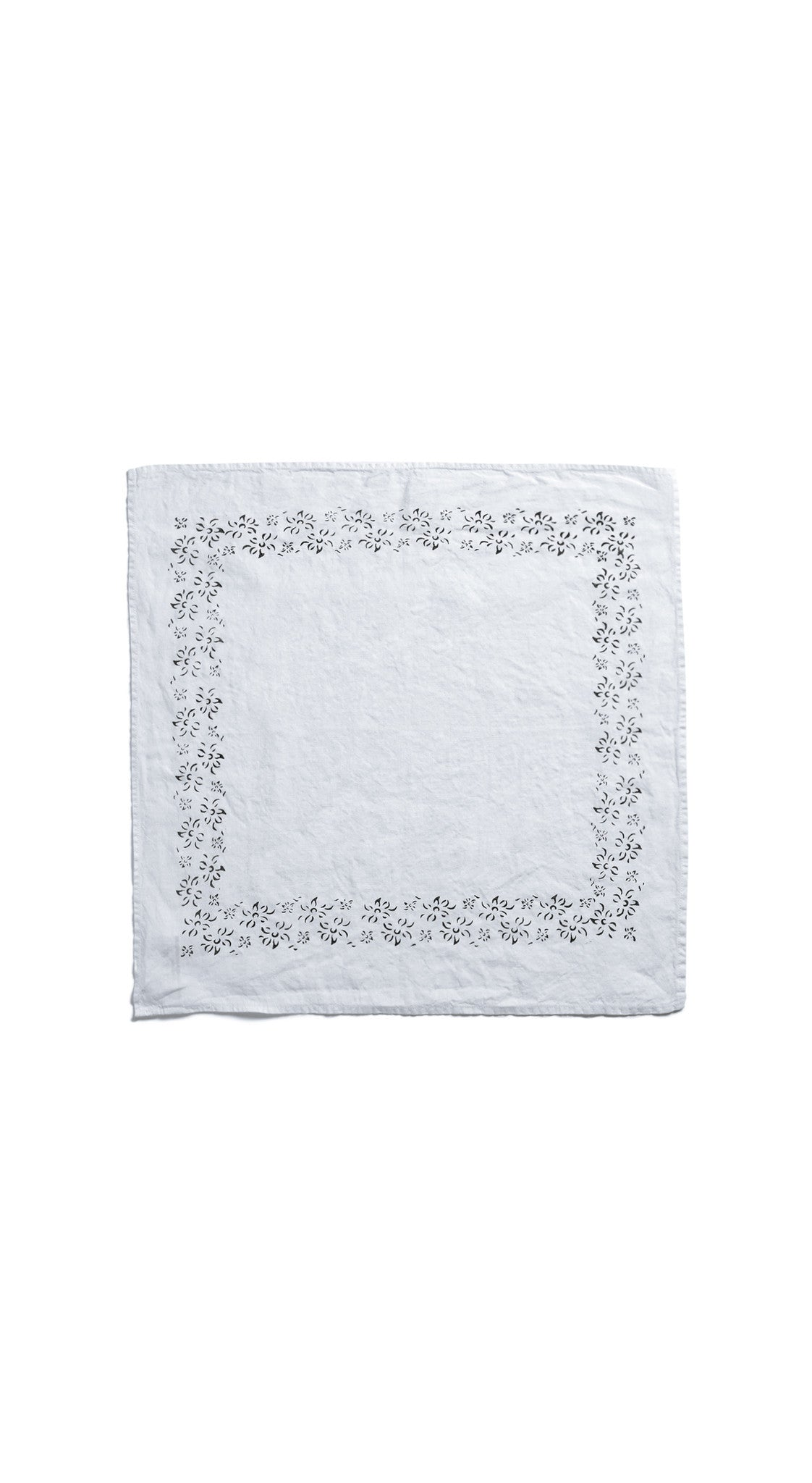 Bernadette's Framed Flower Linen Napkin in Avocado Green