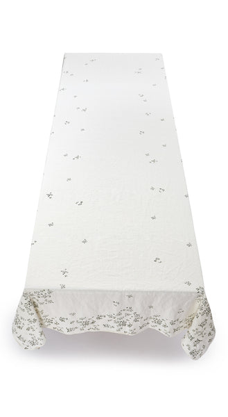 Bernadette's Falling Flower Linen Tablecloth in Avocado Green