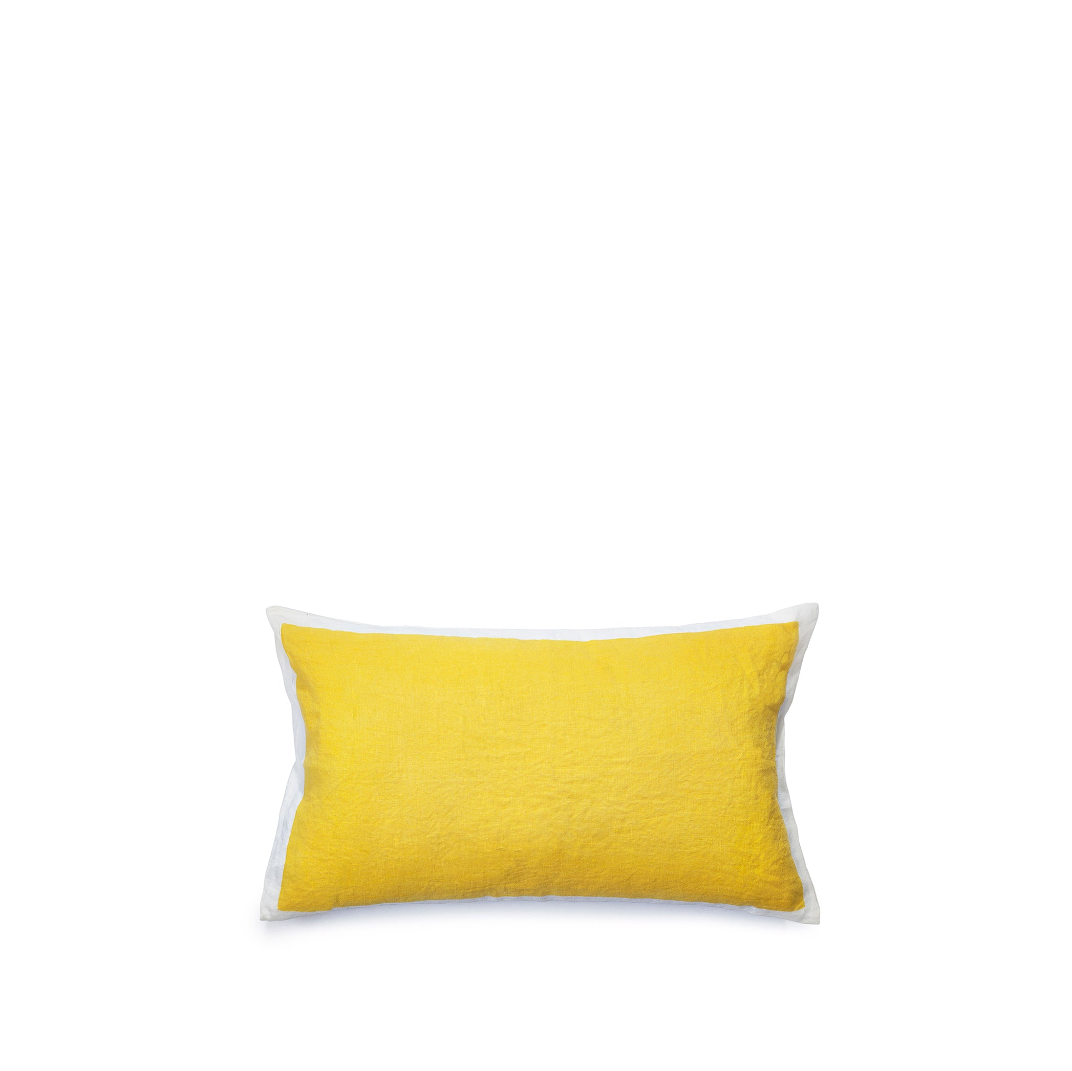 Hand Painted Linen Cushion in Lemon Yellow, 50cm x 30cm