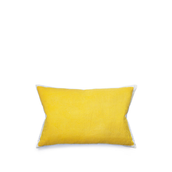 Hand Painted Linen Cushion Cover in Lemon Yellow, 60cm x 40cm