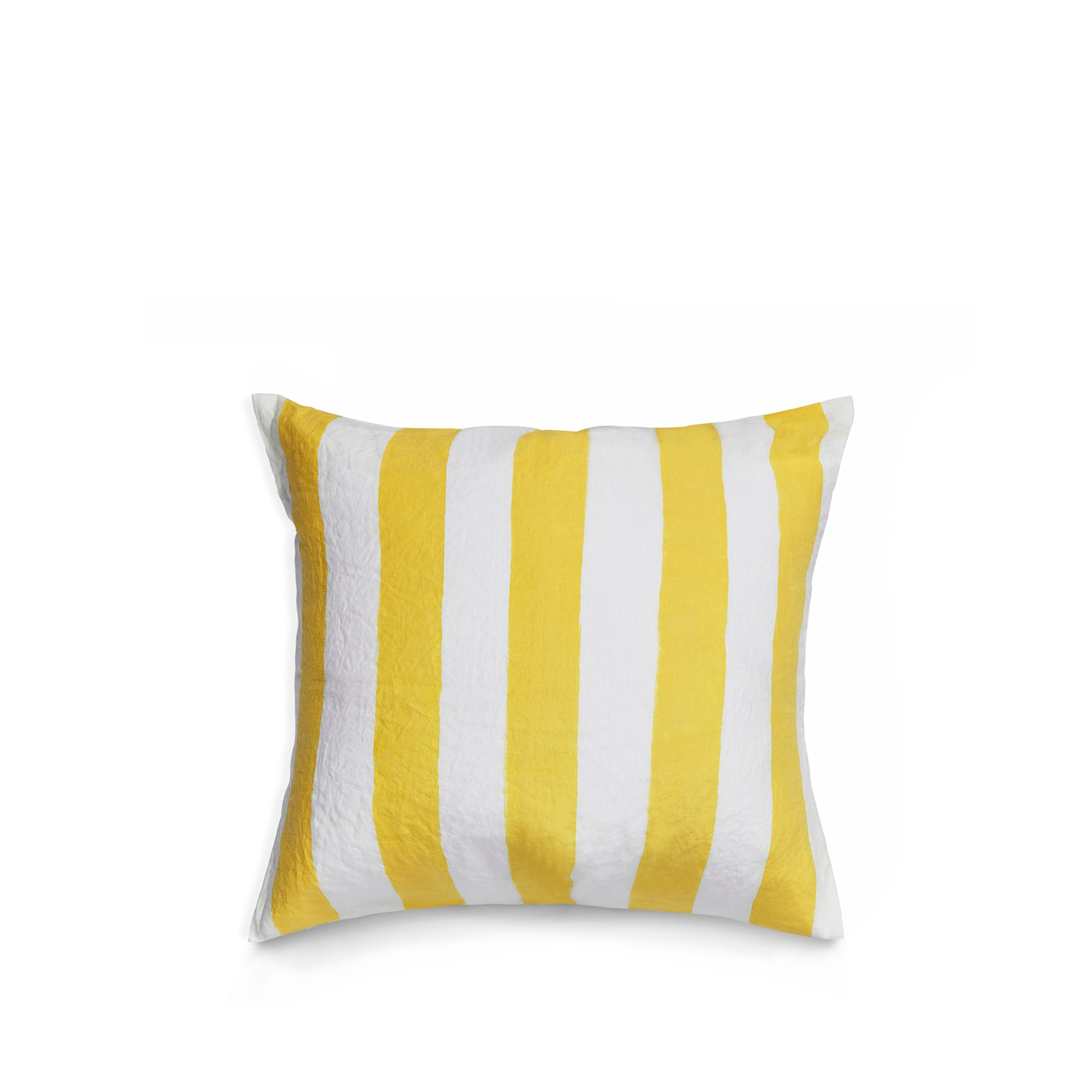 Hand Painted Stripe Linen Cushion in Lemon Yellow + White, 50cm x 50cm