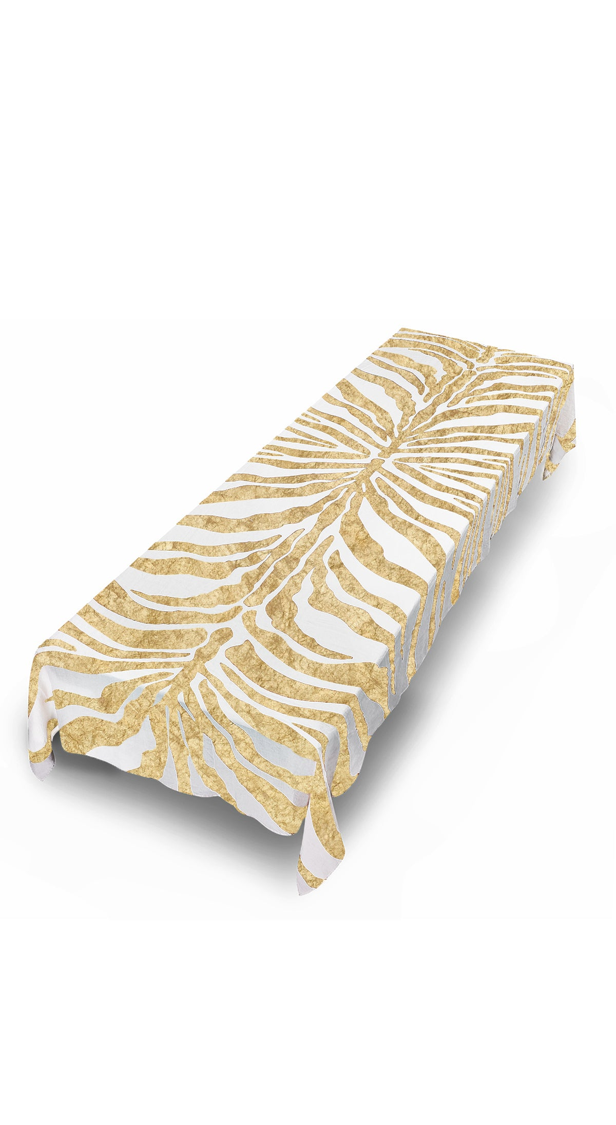 Hand Painted Zebra Linen Tablecloth in Gold