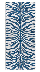 Zebra Linen Tablecloth in Petrol Blue