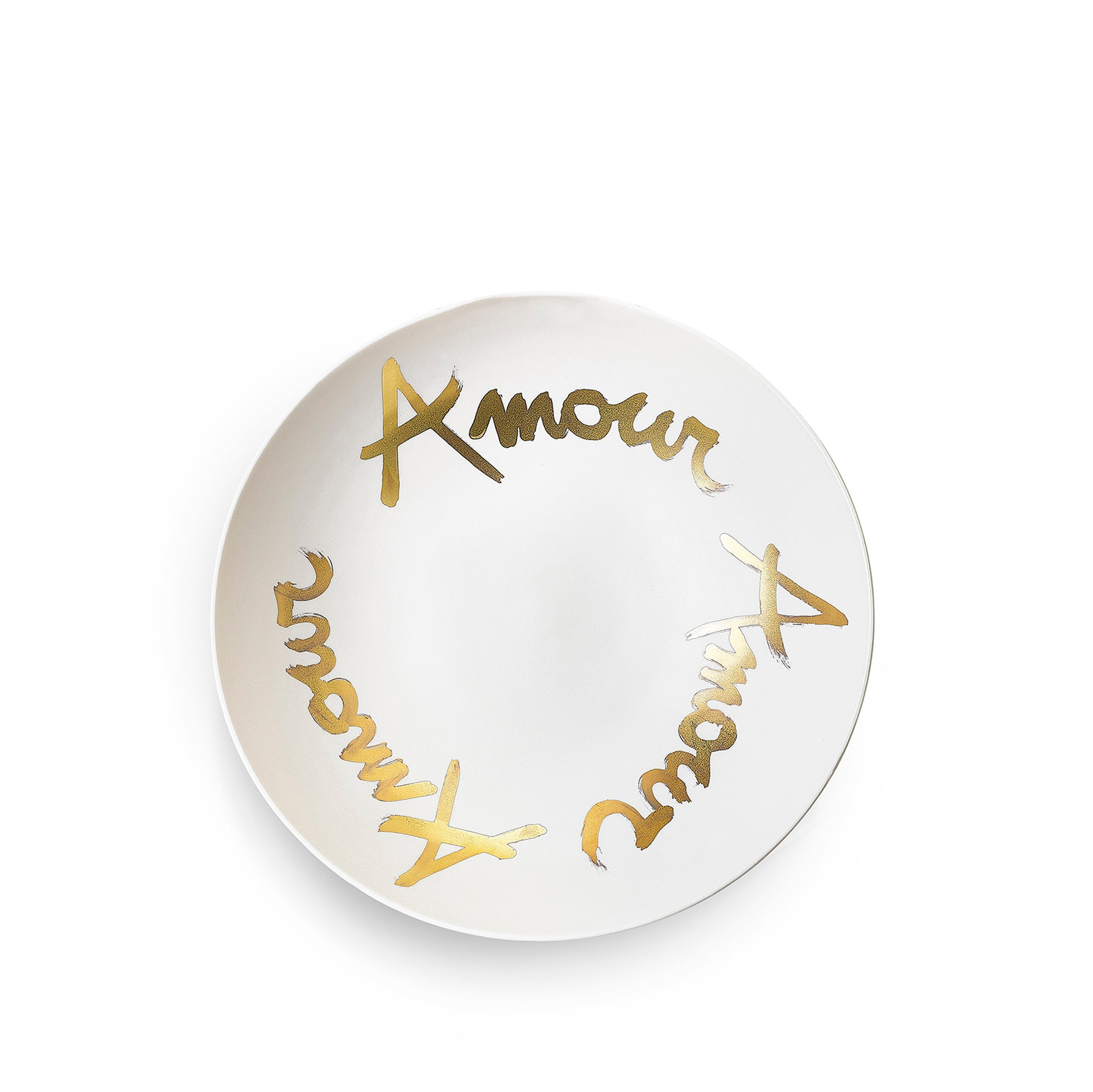Amour Amour Amour Porcelain Bowl in Matte Gold