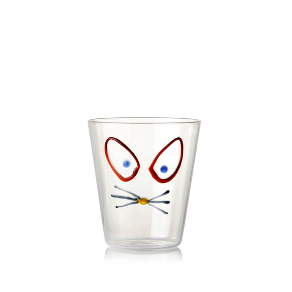 Handblown Glass Tumbler with Cat Head