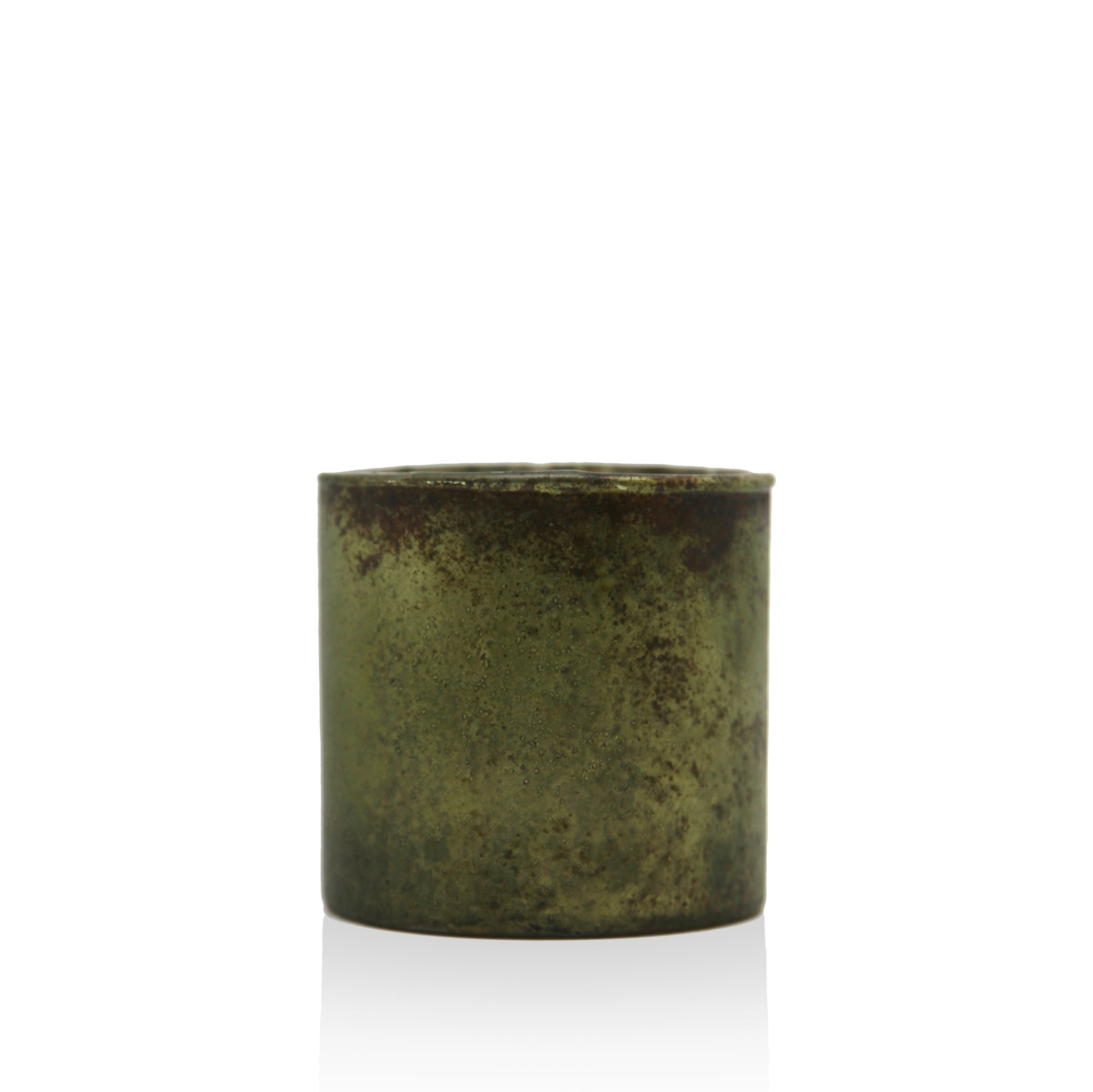 Antiqued Glass Tea Light in Green & Gold