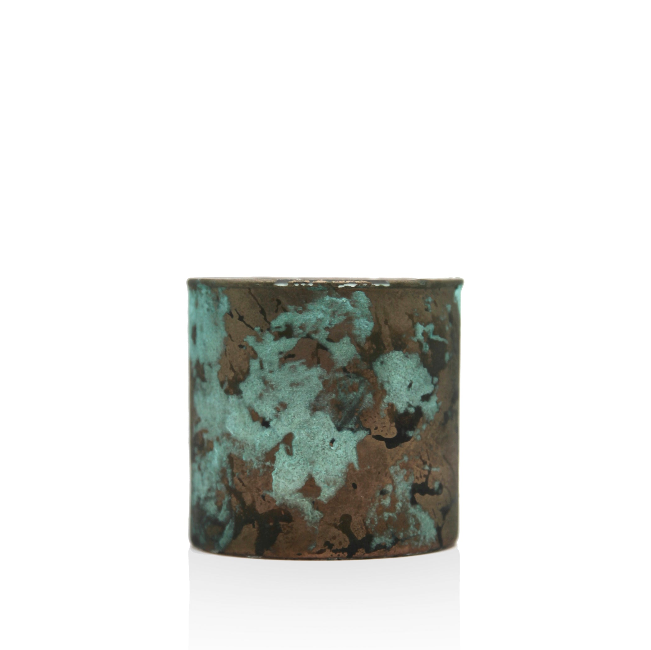 Antiqued Glass Tea Light in Turquoise & Copper