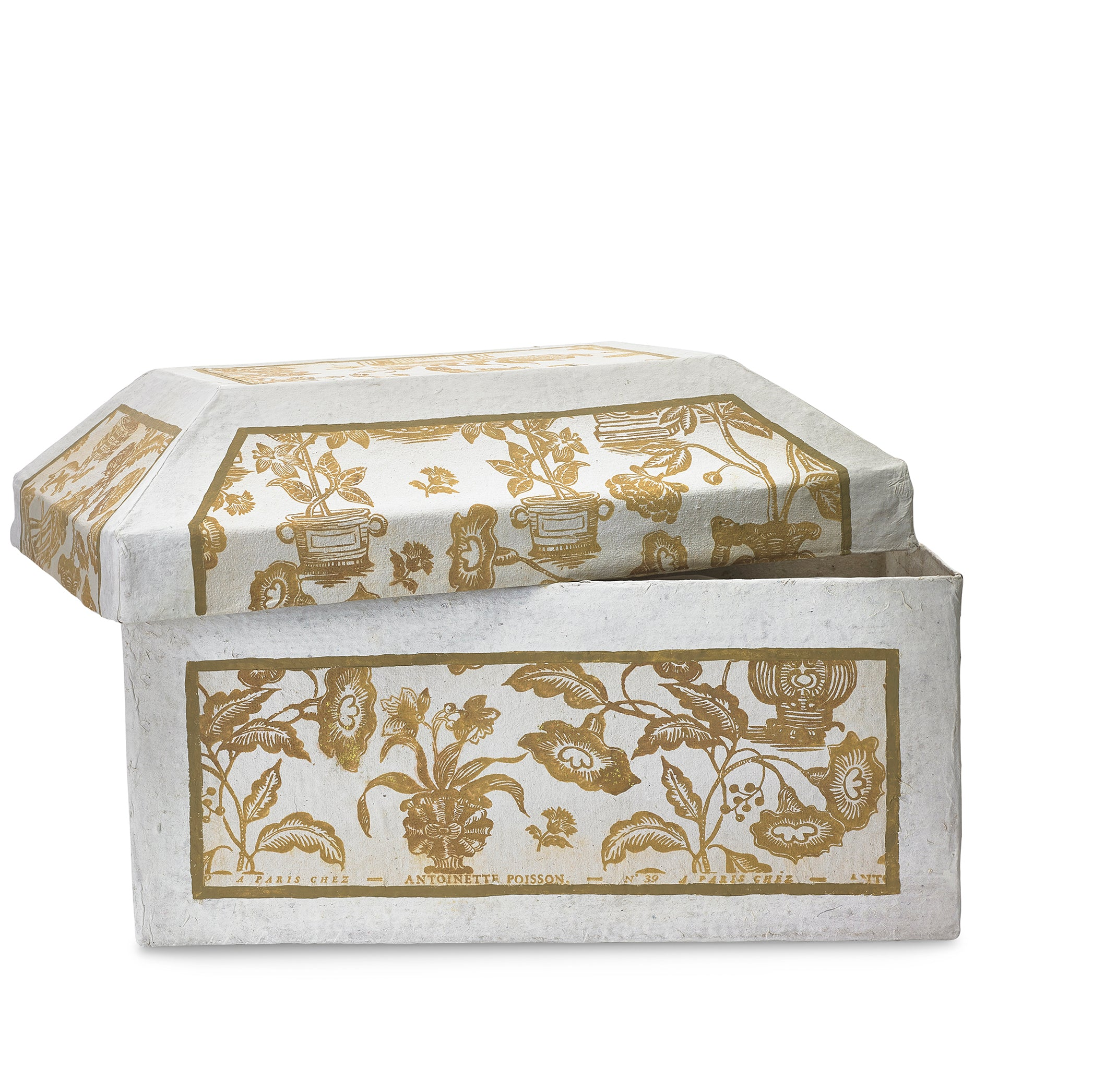 Antoinette Poisson Papier Maché Trésor Box in White and Gold