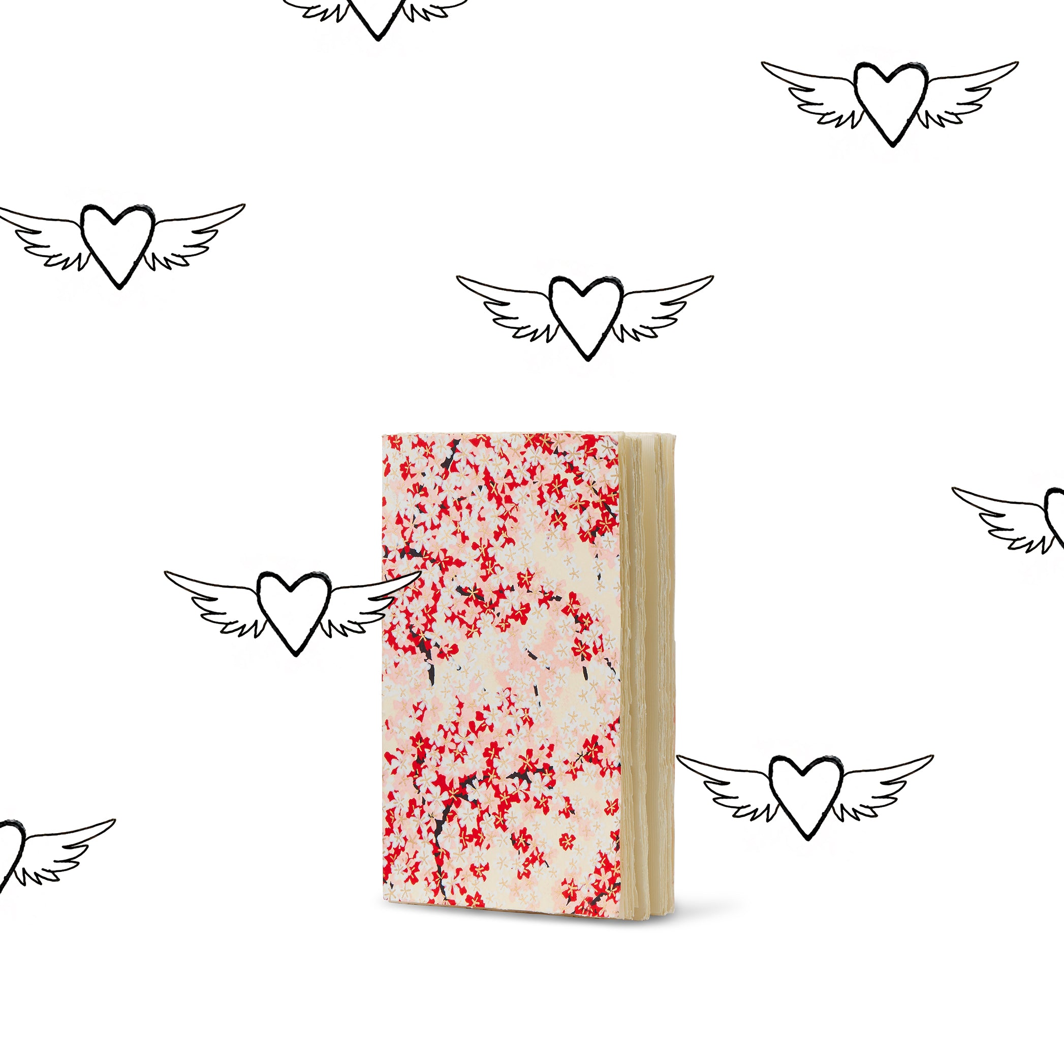 Handprinted Japanese Chiyogami Covered Small Sketchbook, Cherry Blossom