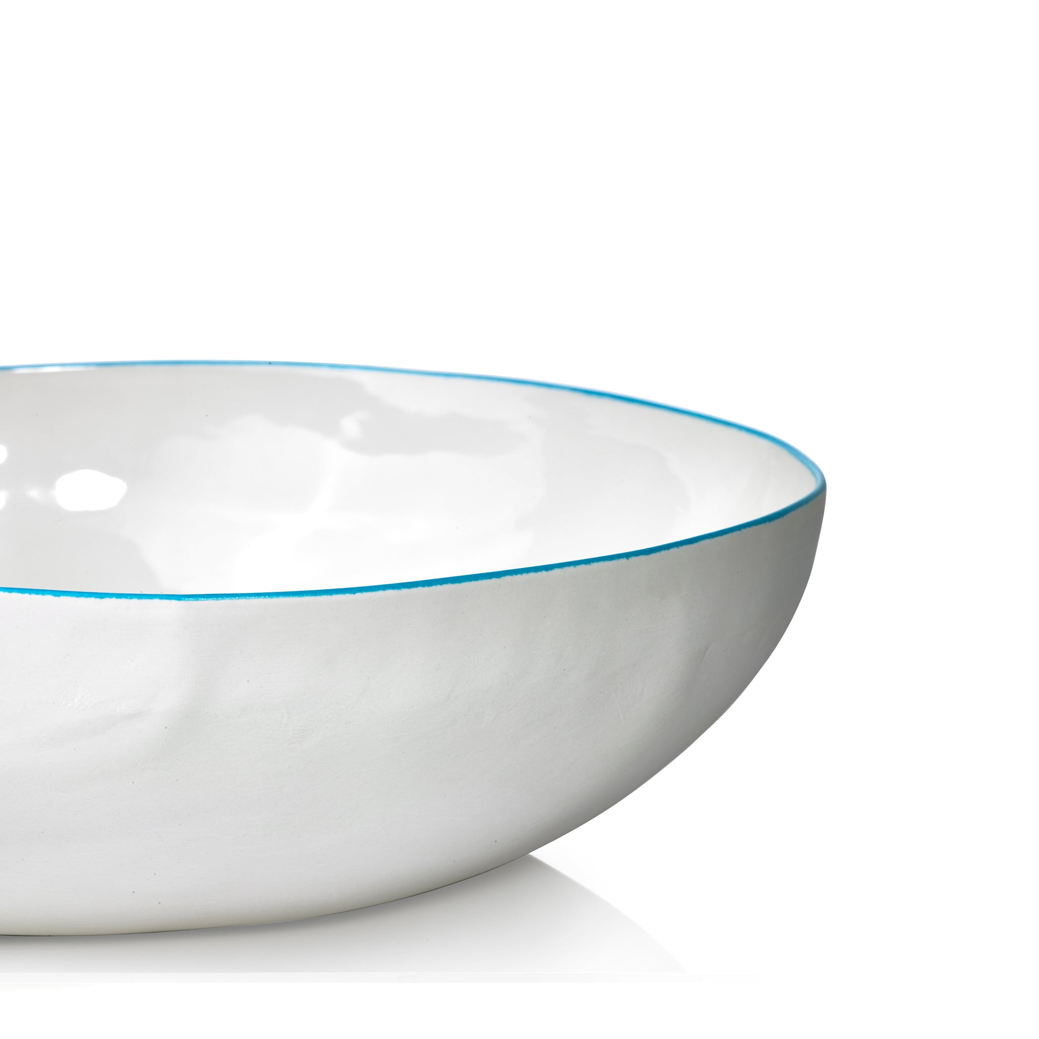 S&B Handmade 30cm Porcelain Medium Salad Bowl with Blue Rim