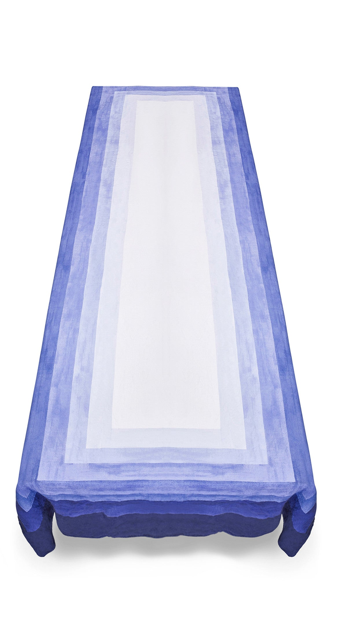 Shades Of Blue Striped Linen Tablecloth