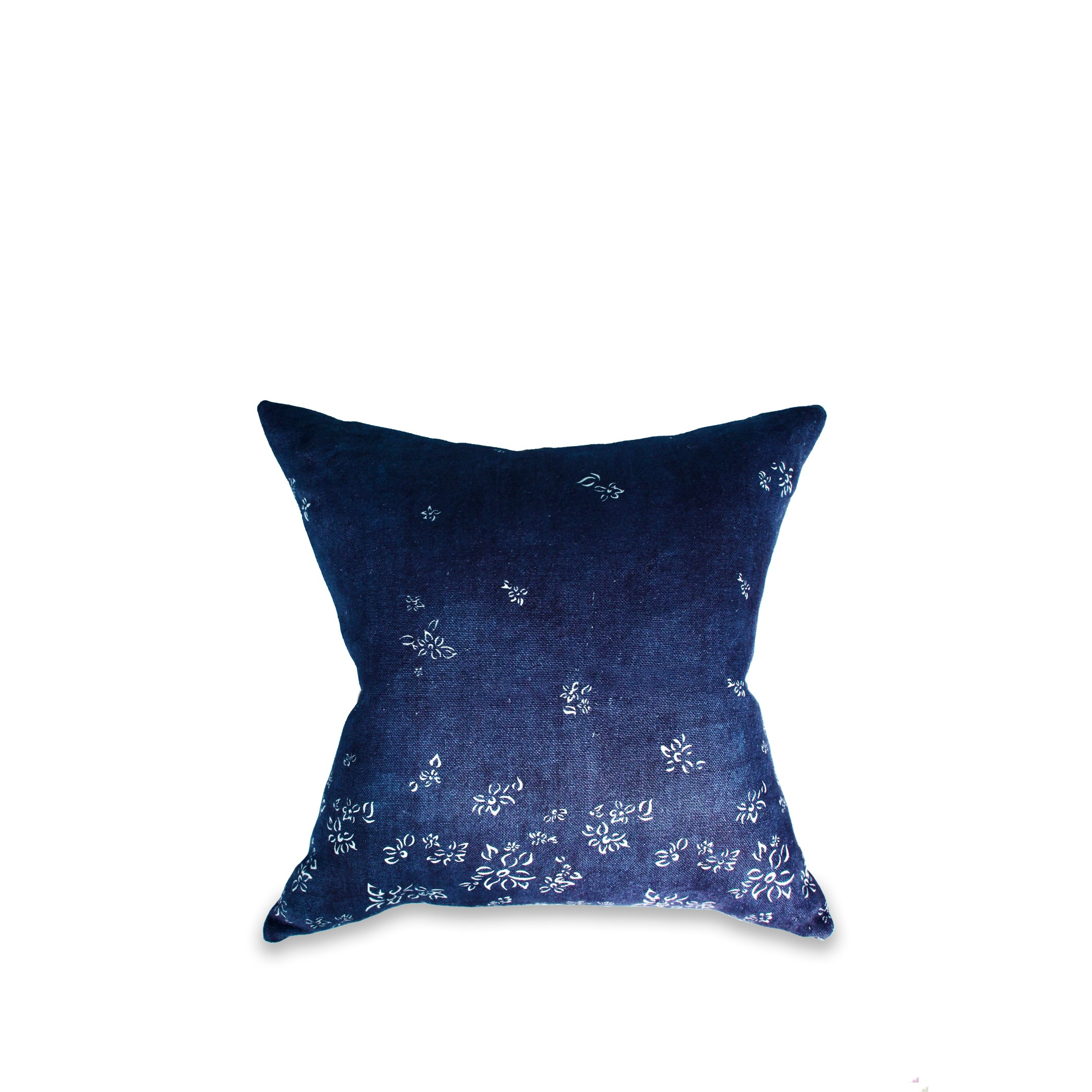 Heavy Linen Falling Flower Cushion in Full Field Midnight Blue, 50cm x 50cm