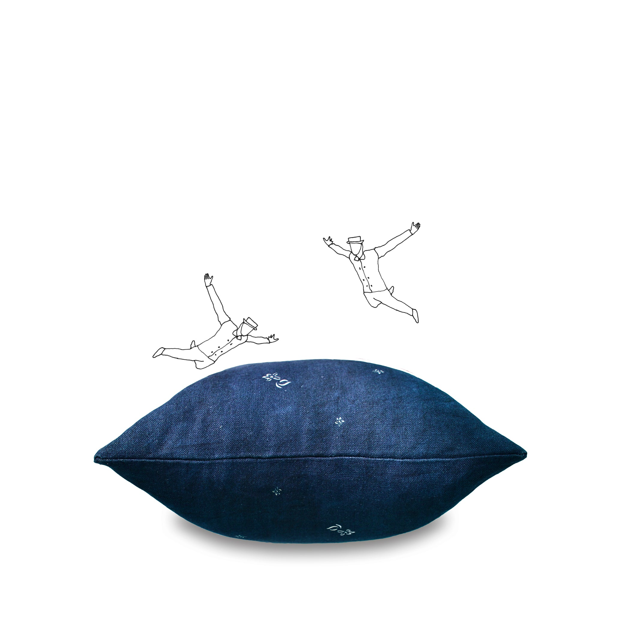 Heavy Linen Falling Flower Cushion in Full Field Midnight Blue, 50cm x 30cm