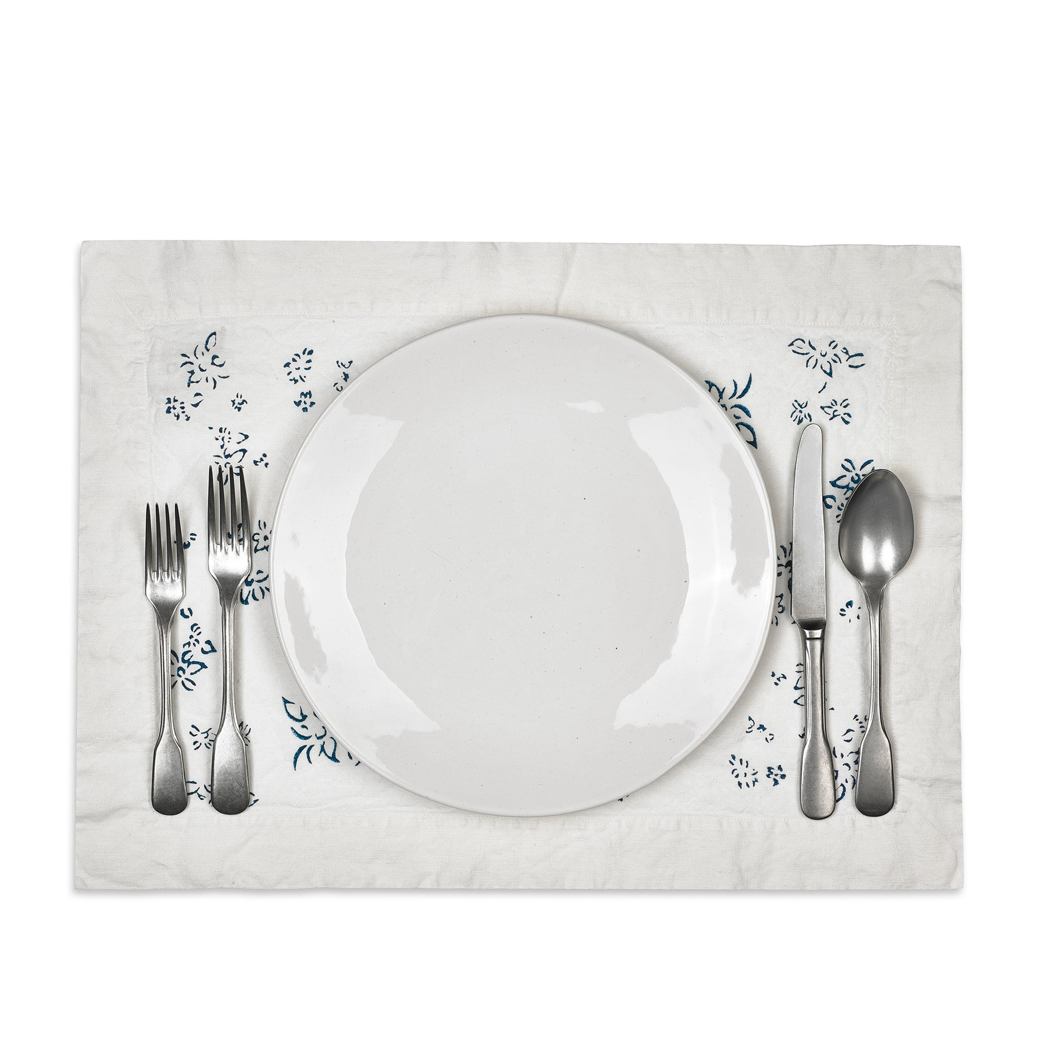 Bernadette's Hand Stamped Falling Flower Linen Placemat in Midnight Blue