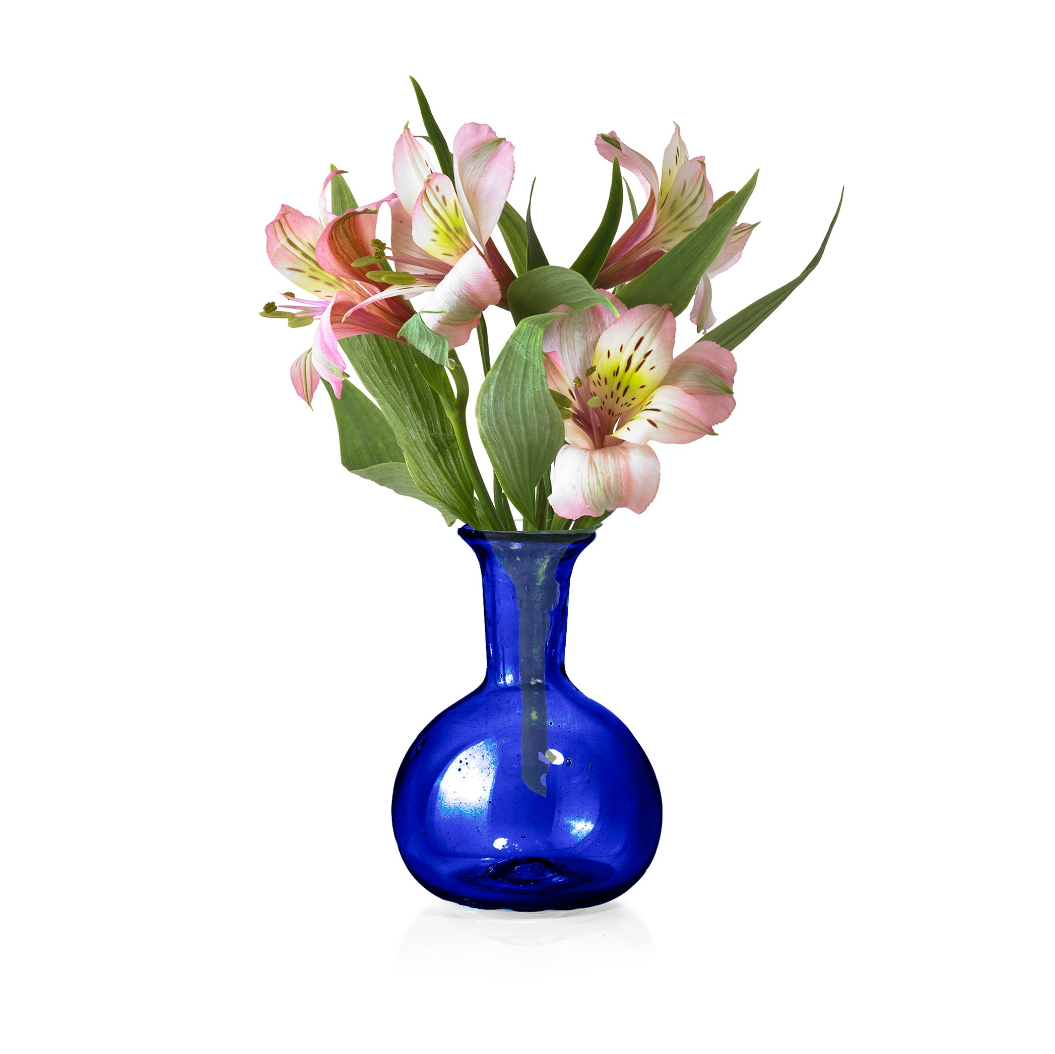 Handblown Small Round Bud Vase in Cobalt Blue