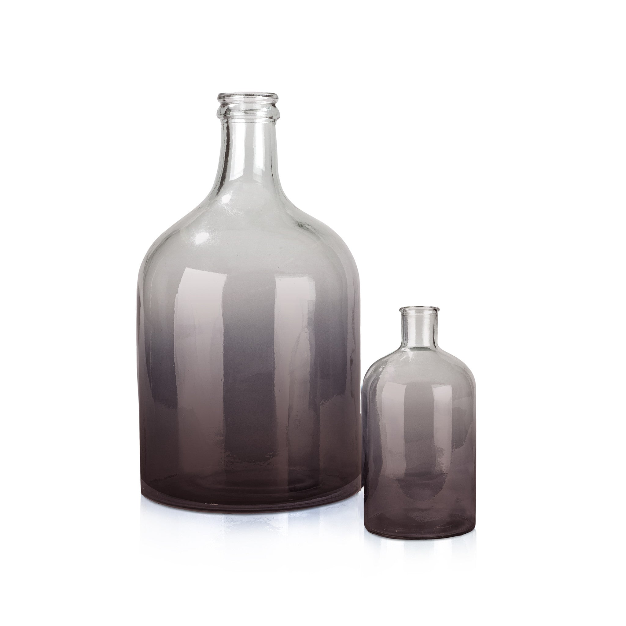 Recycled Large Smokey Purple Glass Bottle