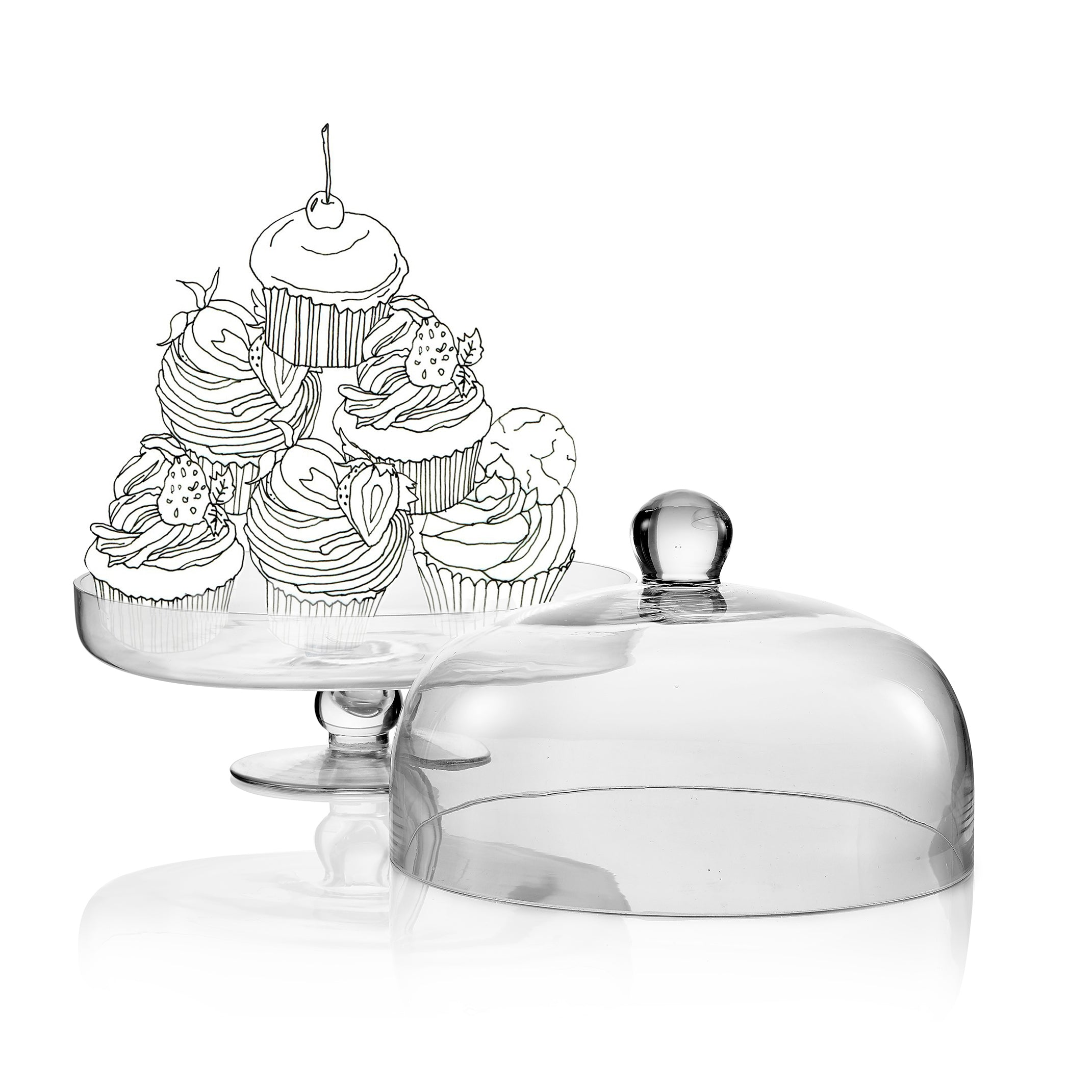 Glass Cake Stand with Lid, 30cm