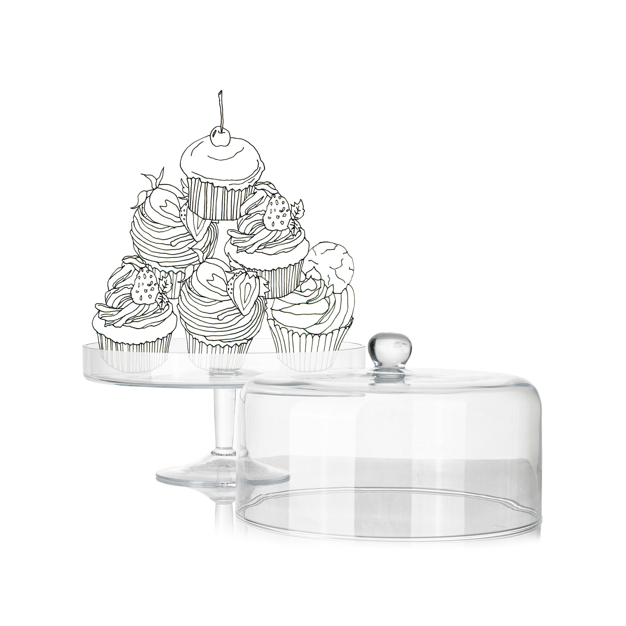 Glass Cake Stand with Lid, 32cm