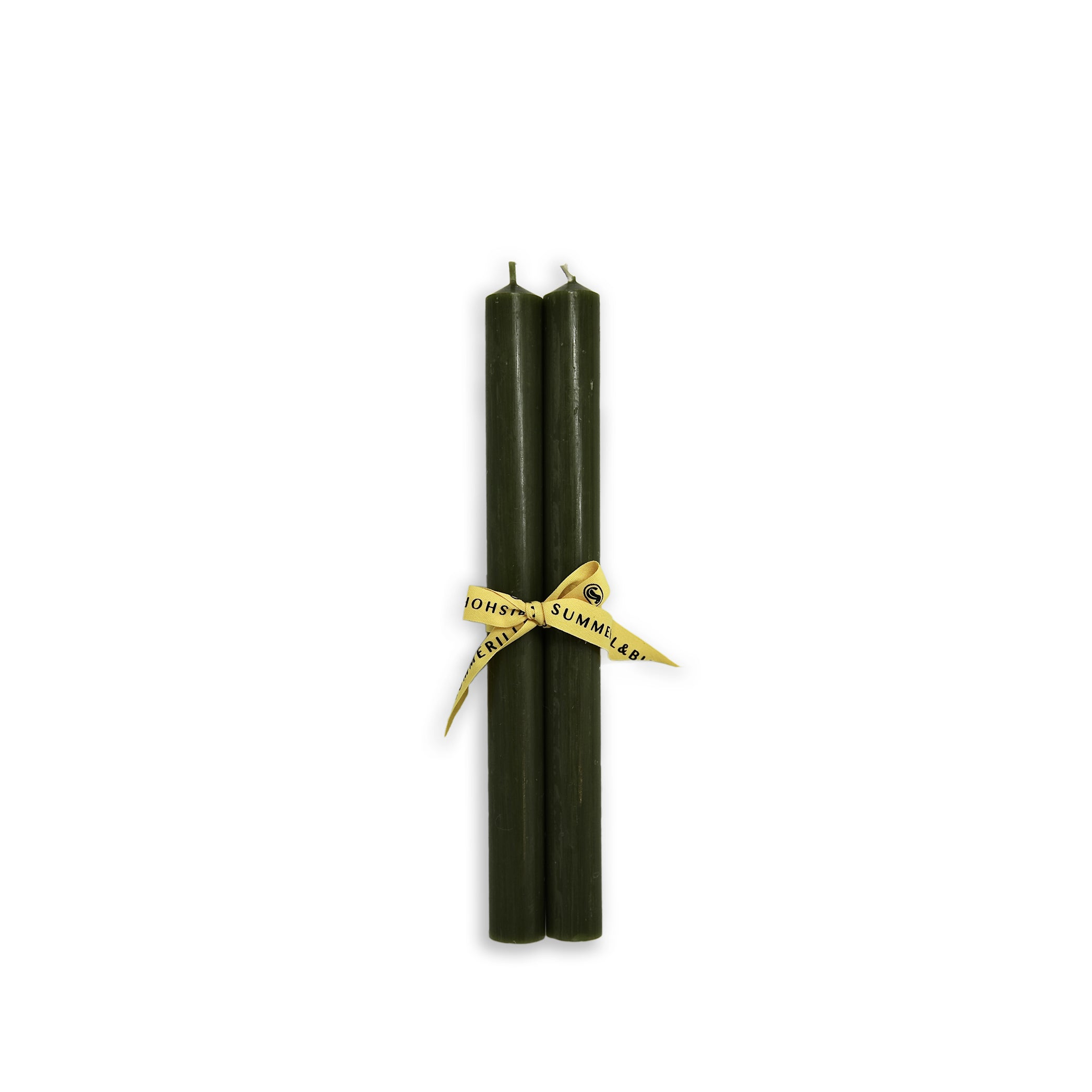 Pair of Coloured Church Candles in Dark Green
