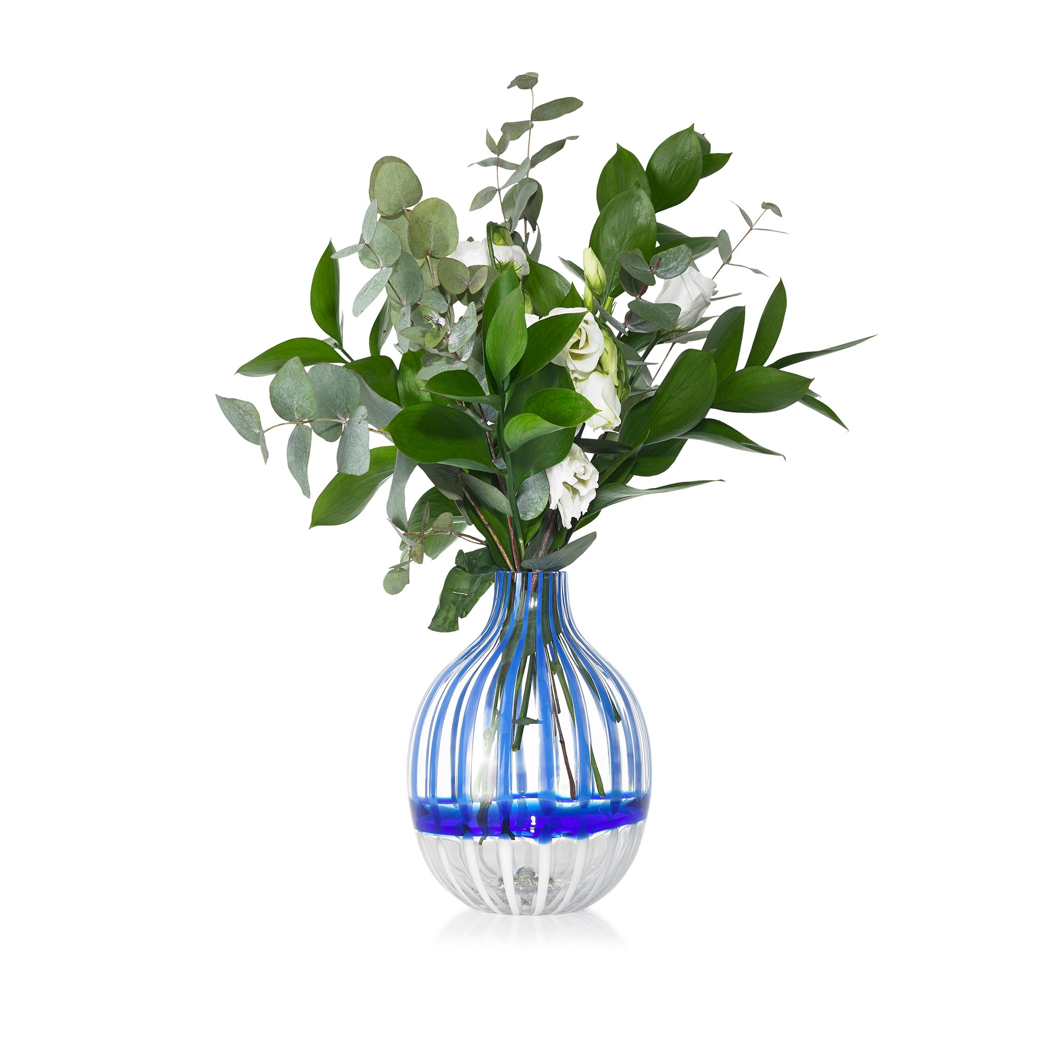 Handblown Double Stripe Glass Vase in Midnight Blue & White