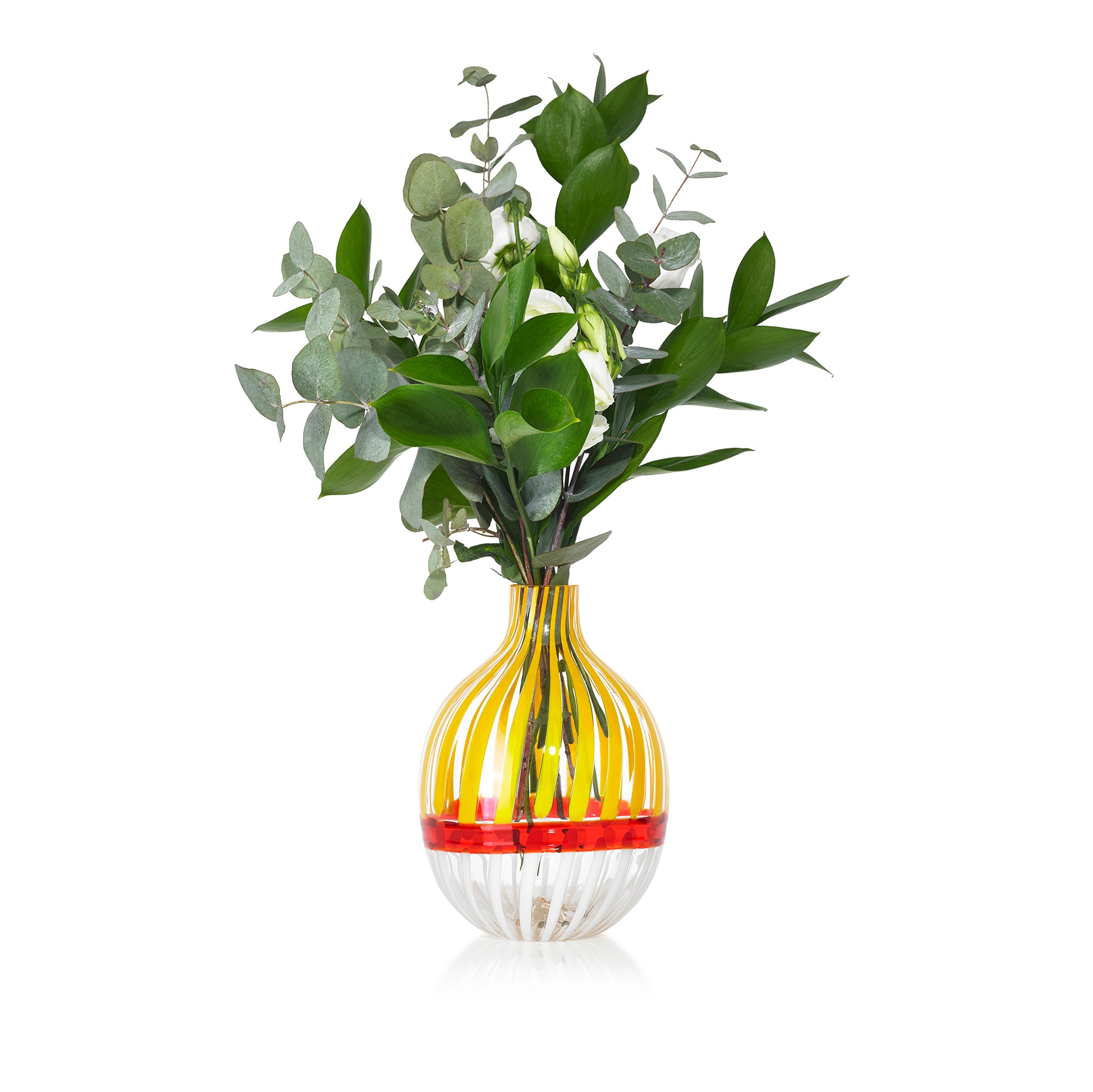 Handblown Double Stripe Glass Vase in Lemon Yellow, Red & White