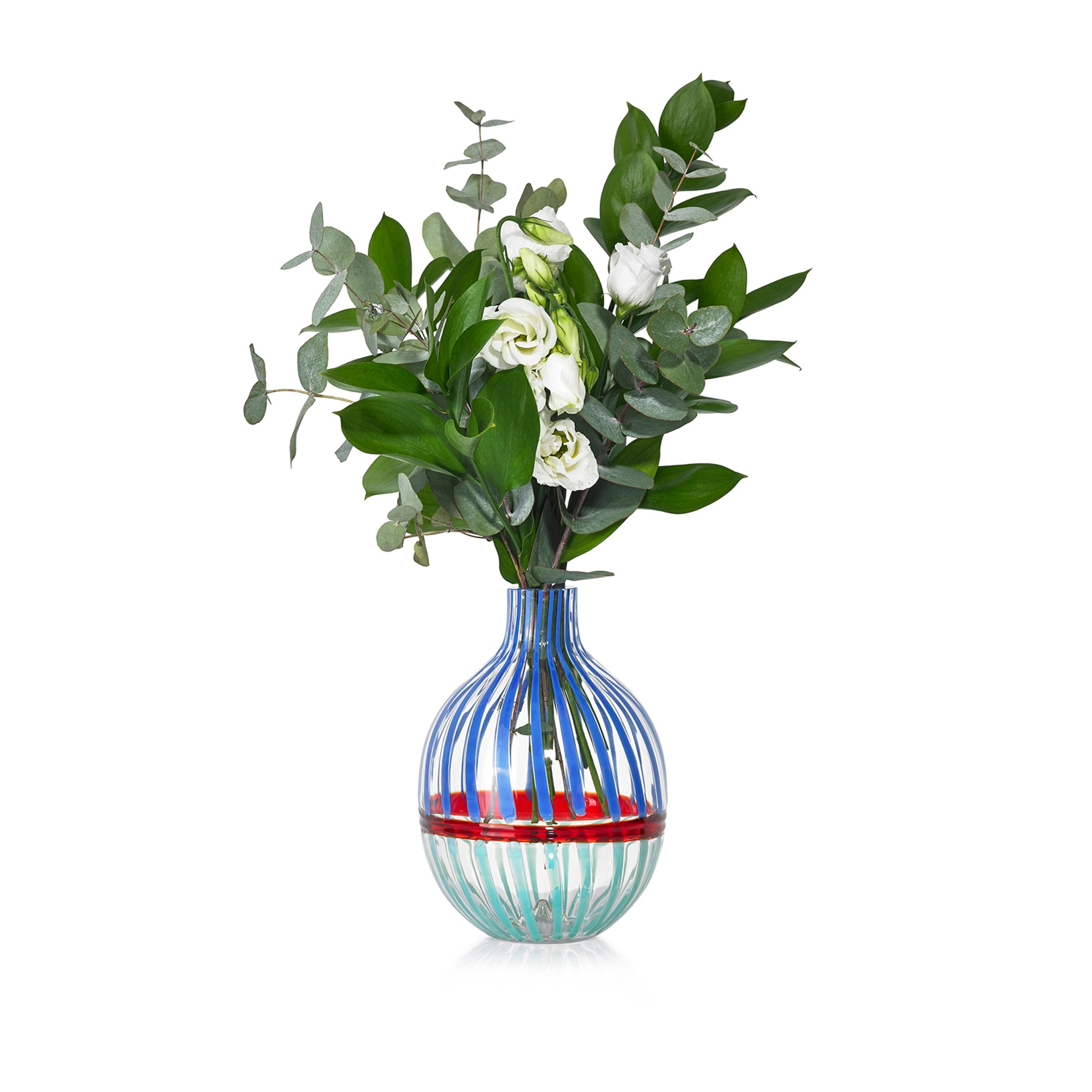 Handblown Double Stripe Glass Vase in Sky Blue, Red & Teal
