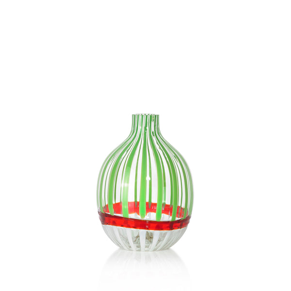 Handblown Double Stripe Glass Vase in Avocado Green, Red & White