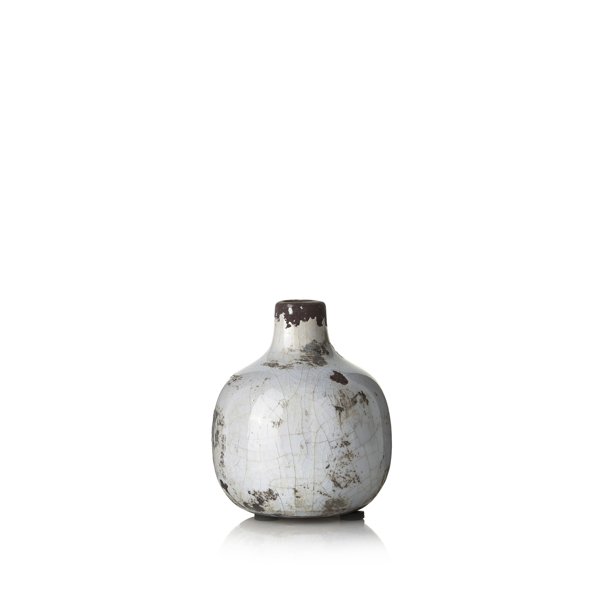 Ceramic Crackled Vase in White