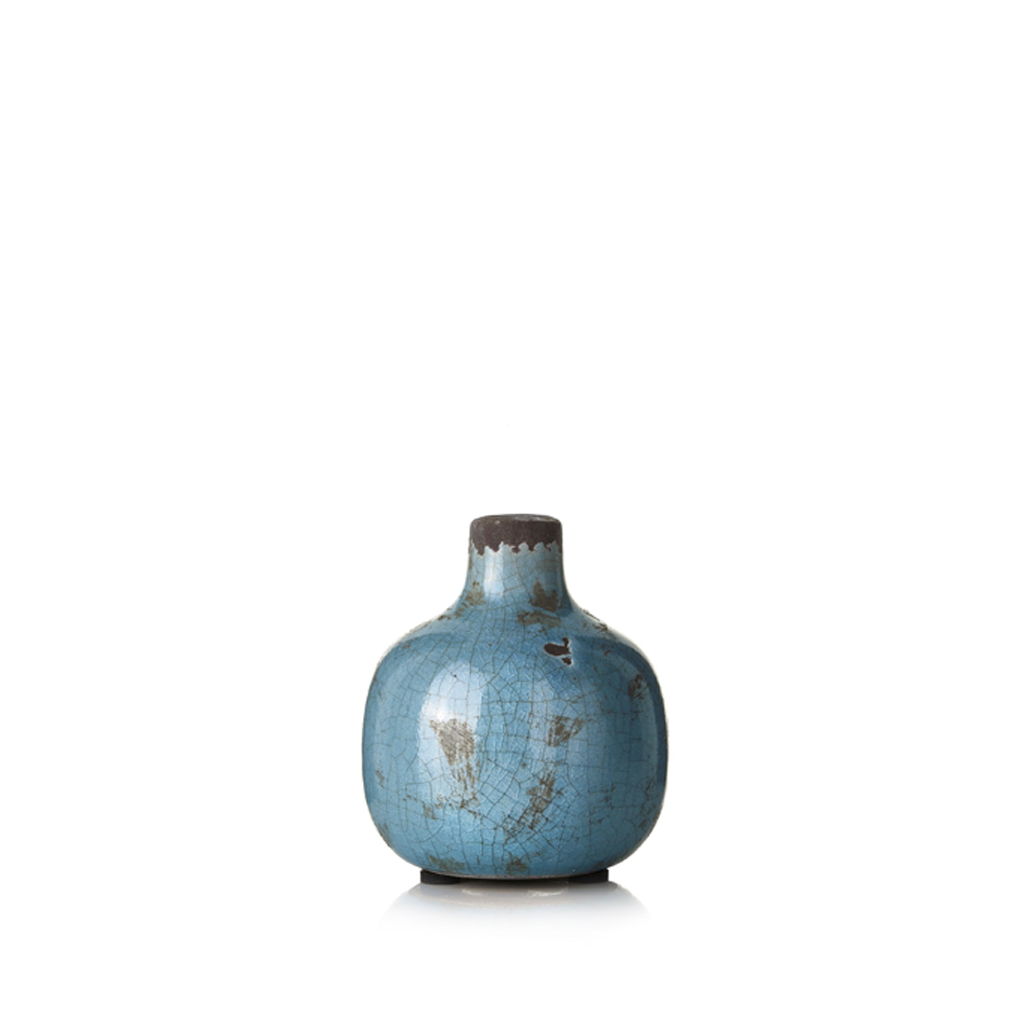 Ceramic Crackled Vase in Grey blue