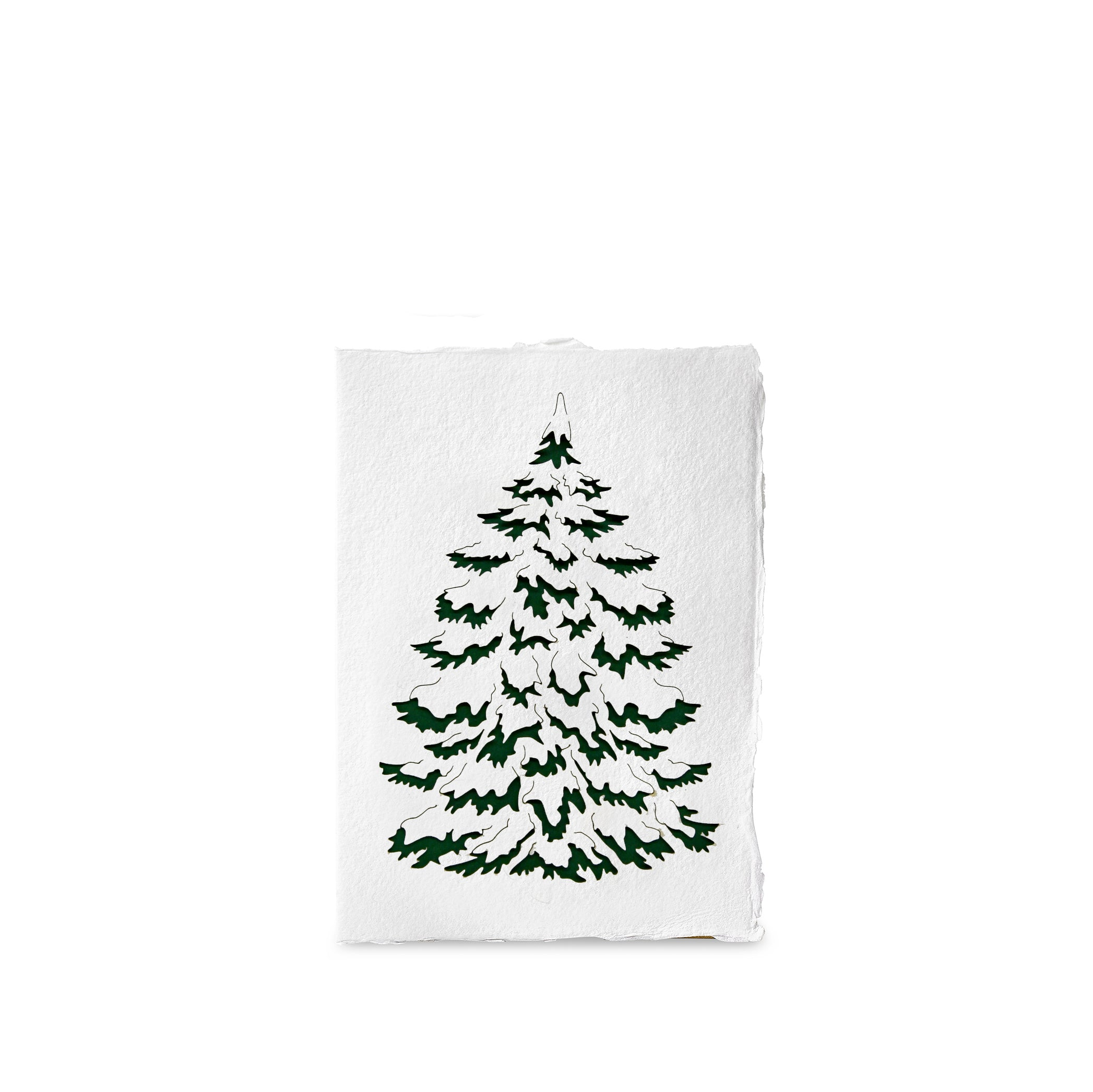 Handmade Paper Greeting Card with Fir Tree