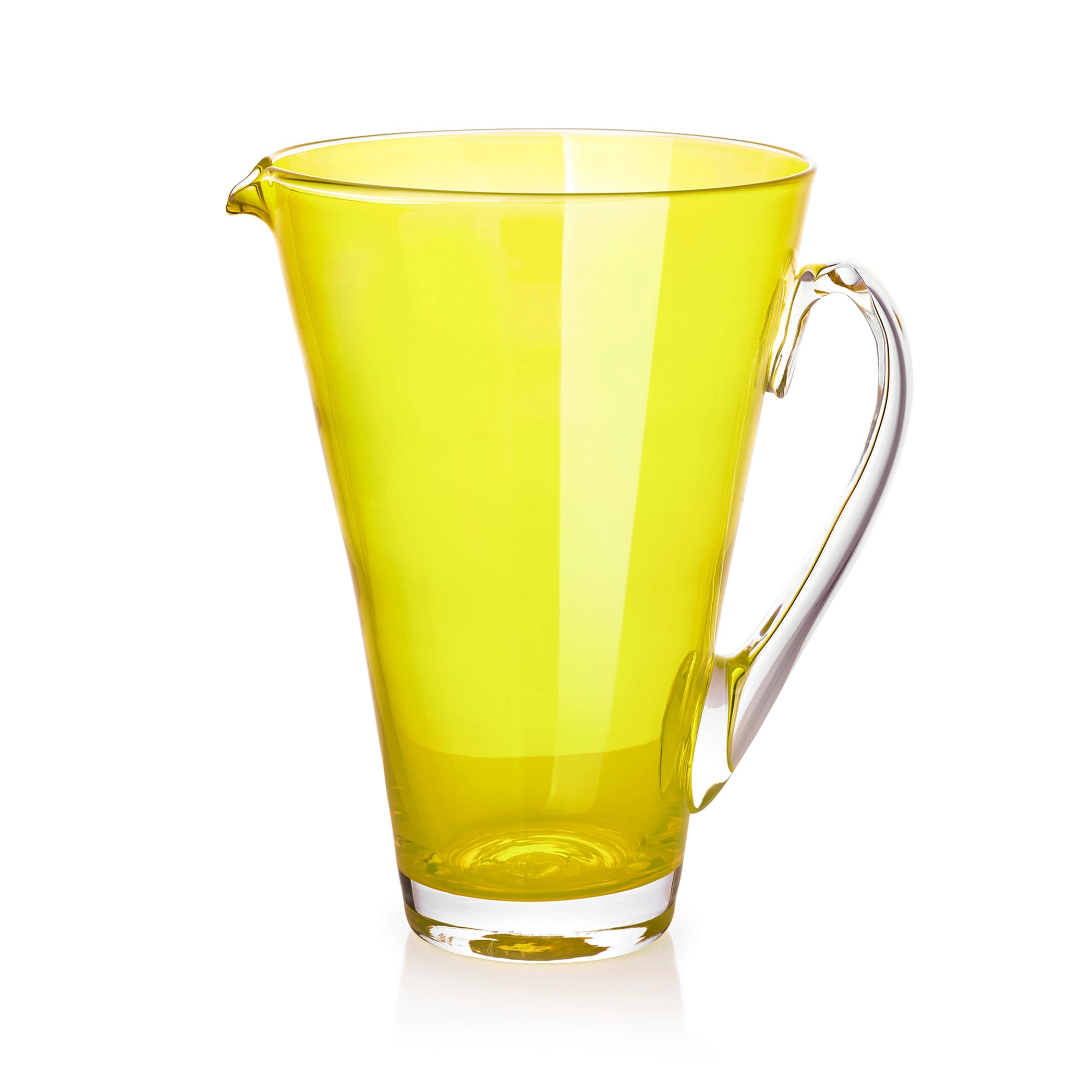 Handblown Glass Clair Jug in Lemon Yellow