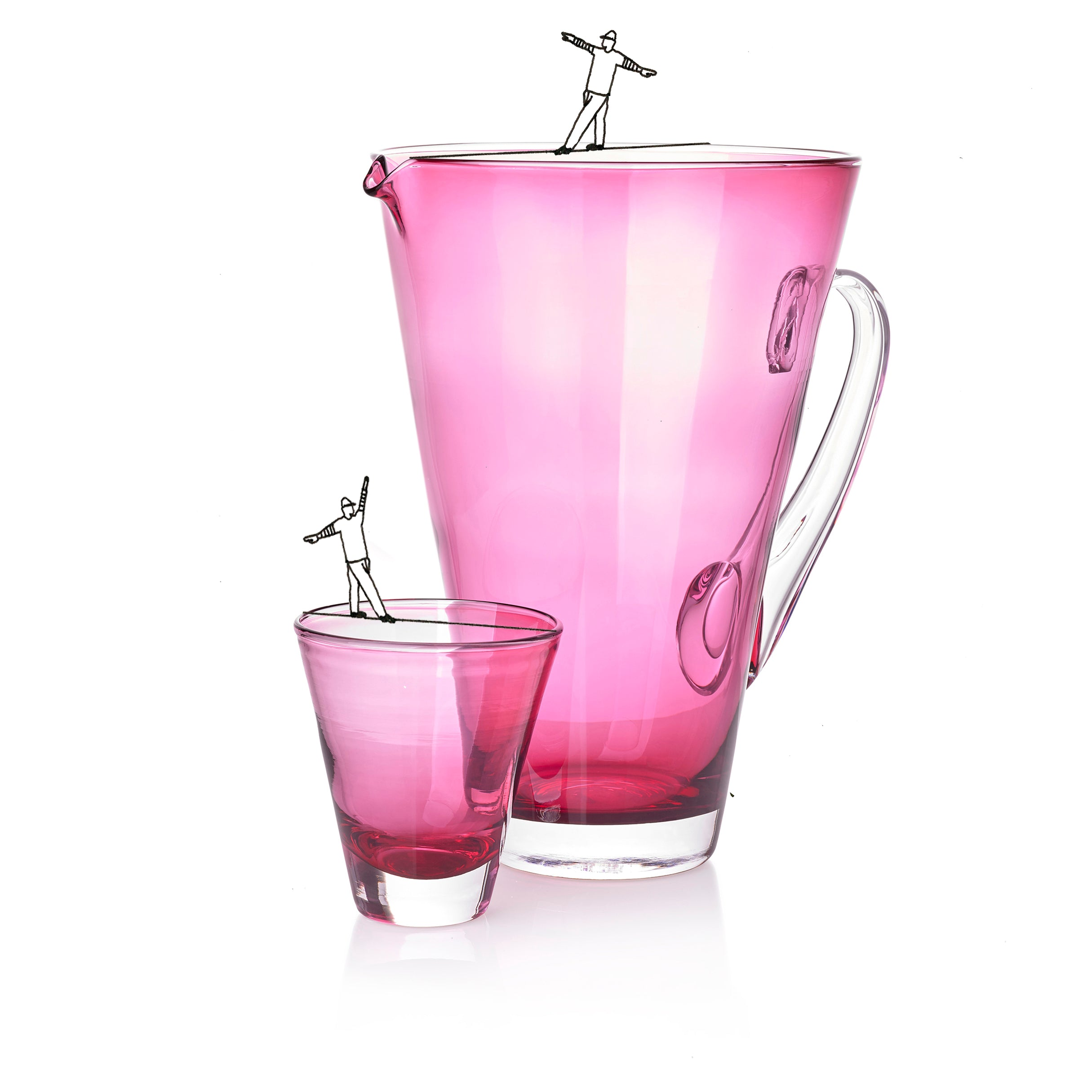 Handblown Glass Clair Jug in Rose Pink