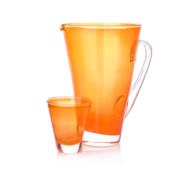 Handblown Glass Clair Jug in Orange
