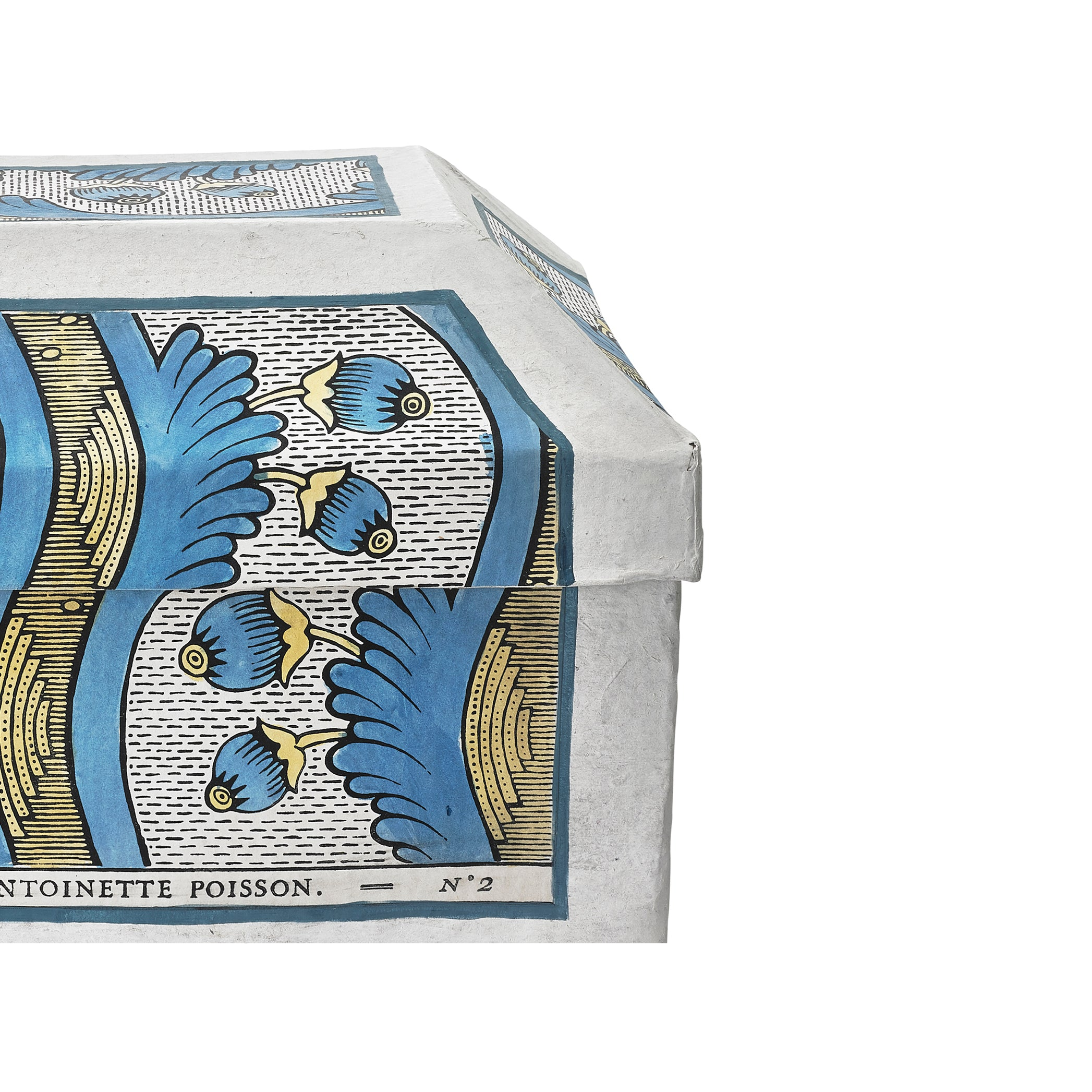 Antoinette Poisson Papier Maché Trésor Box in Blue and Yellow