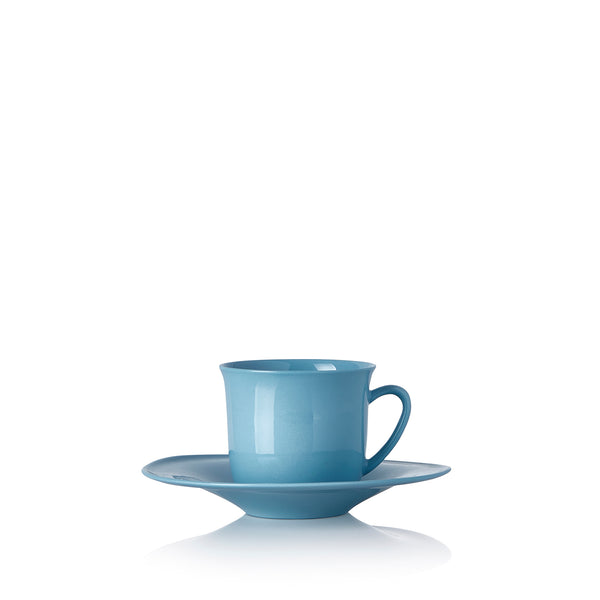 Turkish Coffee Cup and Saucer in Turquoise Blue