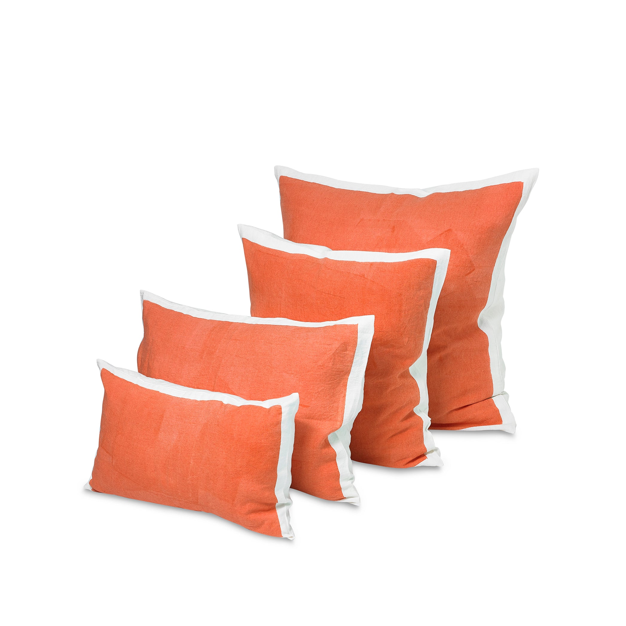 Hand Painted Linen Cushion in Coral, 50cm x 50cm