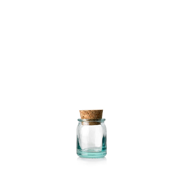 Recycled Glass Straight Jar with Cork Stopper