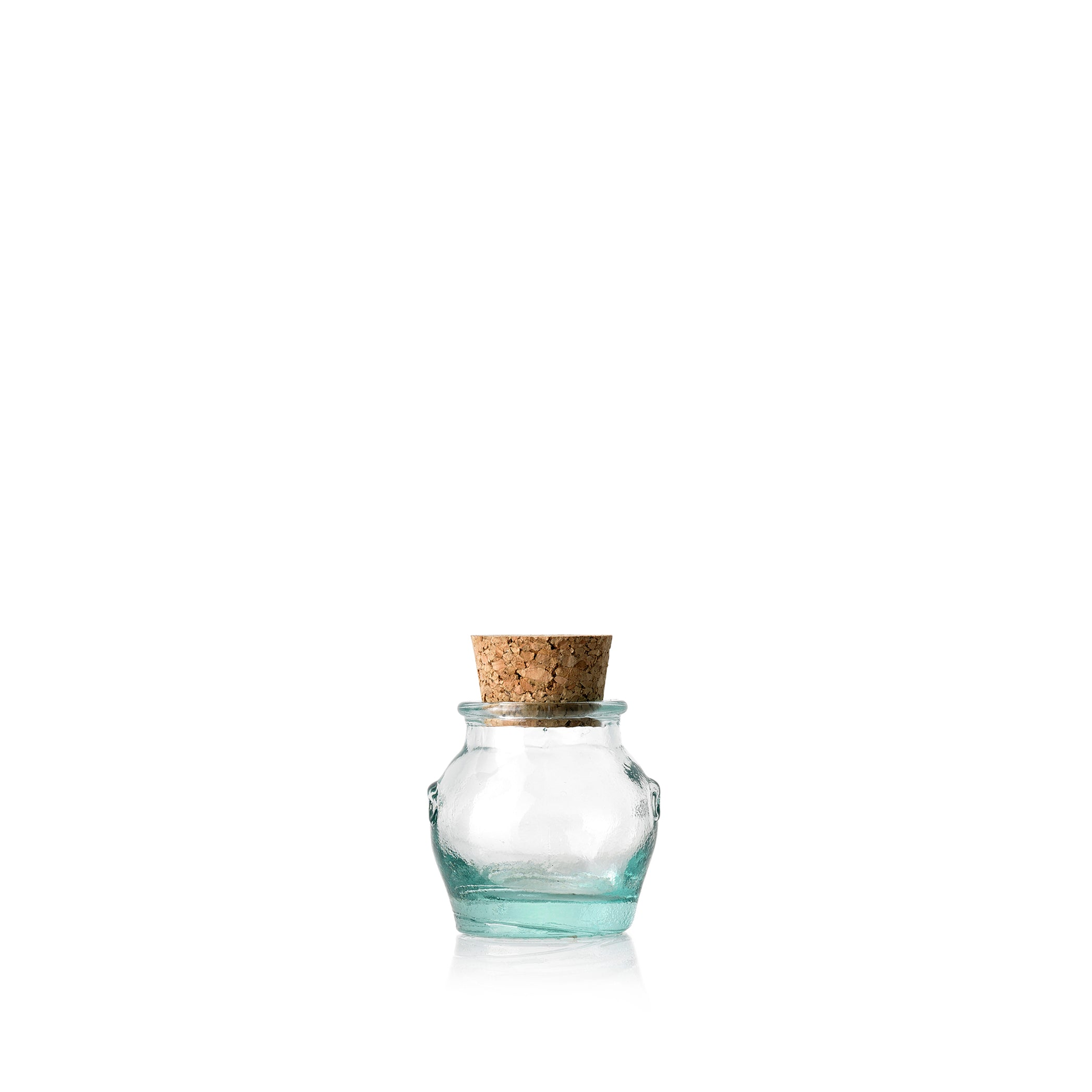 Recycled Glass Round Jar with Cork Stopper