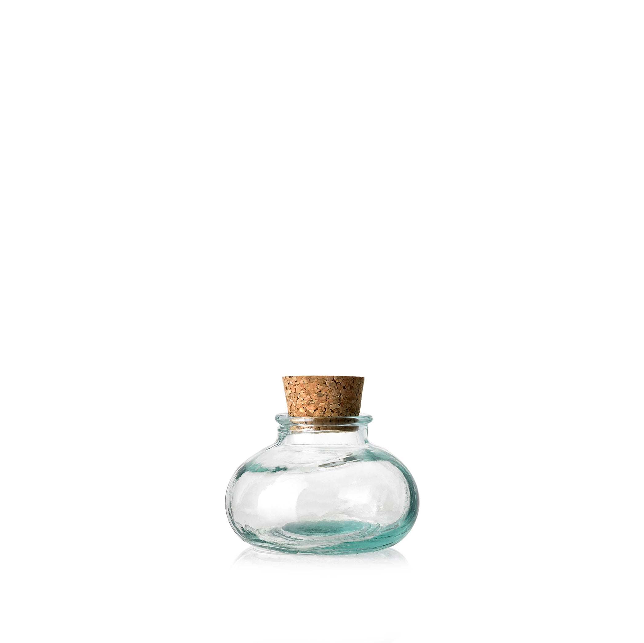 Recycled Glass Bulb Jar with Cork Stopper