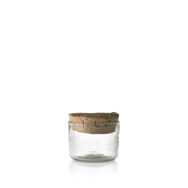 Handblown Glass Jar with Cork Lid, Small