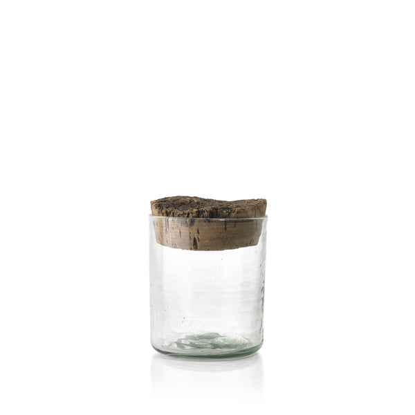 Handblown Glass Jar with Cork Lid, Large