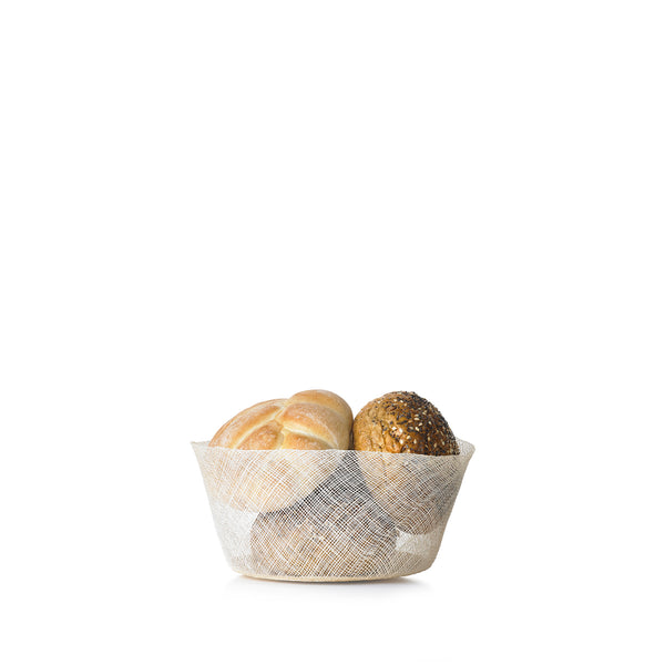 Abaca Round Bread Basket in Cream