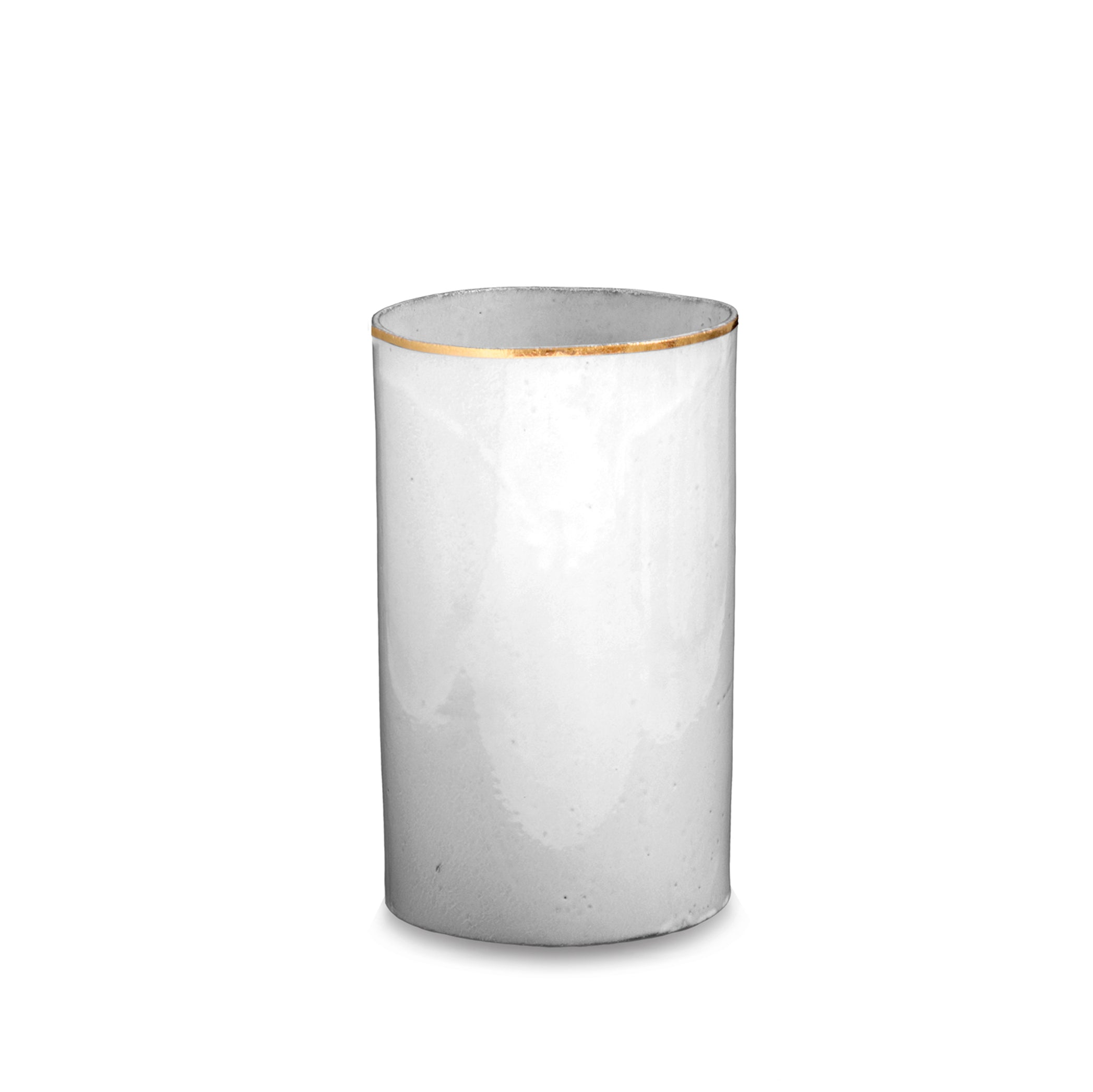 Crésus Tube Vase with Gold Rim by Astier de Villatte