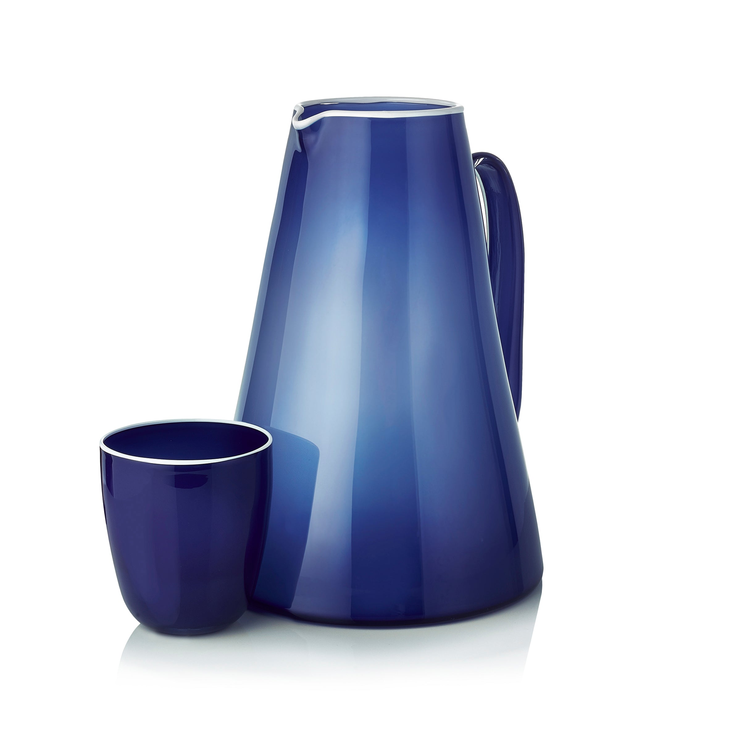 Handblown Bumba Jug in Midnight Blue